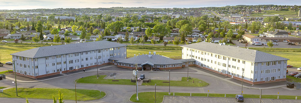 view of Dawson Creek Campus residence from above
